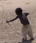 Boy practising archery
