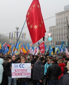 "Socialists on Maidan, 24 November 2013. The poster says ""for a socialist Europe"". Photo from Zakhar Popovych, Left Opposition"