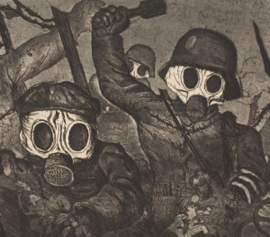 "A detail from Stormtroops Advancing Under A Gas Attack, by Otto Dix. (See ""About the picture"", below"