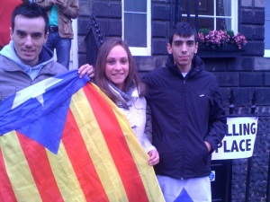 Catalan demonstrators at an Edinburgh city centre polling station
