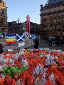 Solidarity: on the weekend after the referendum, campaigners decided to collect food for Glasgow's food banks, and put the word out on social media to bring donations to George Square