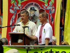 Sergei Yunak speaking at the Durham miners gala in July 2014