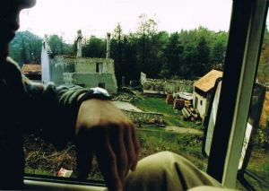 A typical scene from a Workers' Aid lorry in 1994: an ethnically cleansed village in central Bosnia