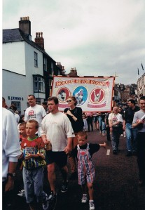 Workers' Aid marching with Bosnian refugees at the Durham Miners' Gala, 1995