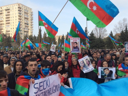 The Baku demonstration on 16 March, called to protest about falling living standards