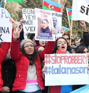 Demonstrators in Baku, 16 March