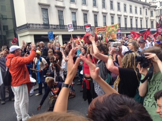 The Bloco Liberdade samba band in the Strand on today's anti-austerity demo
