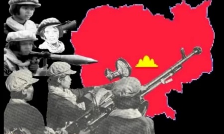 "Image from ""Khmer Rouge female fighters"", a propaganda film by the Pol Pot regime"