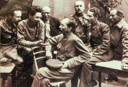 This is not about him. Feliks Dzerzhinsky (centre) with a group of officers from the Cheka security service during the Russian civil war