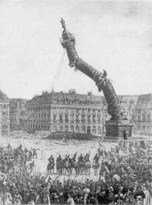 Demolition of the Colonne Vendôme by Paris Communards, 16 May 1871. The 44-metre-high column, which had a statue of Napoléon in Roman dress at the top, was rebuilt under the Third Republic. (Contemporary drawing, reproduced on UC Press site.)