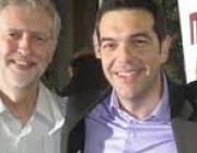 Jeremy Corbyn posing for a photo with Alexis Tsipras of Syriza. It was an old campaign leaflet, but not more recent ones