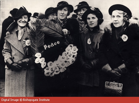 Members of the Cooperative Womens Guild, which launched the white poppy in 1926, with a wreath, some time in the 1930s.