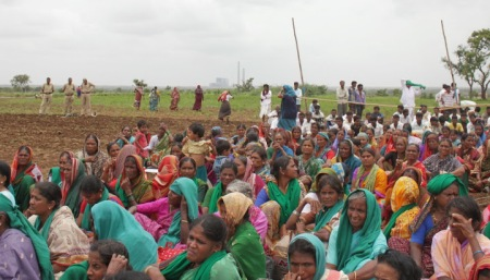 Indian agricultural workers' protest in India. Photo from La Via Campesina South Asia