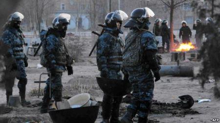 Police at Zhanaozen on 16 December 2011
