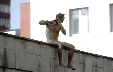 Separation (Otdelenie). Pavel Pavlensky protesting against punishment psychiatry, October 2014. Photo from the Calvert journal site