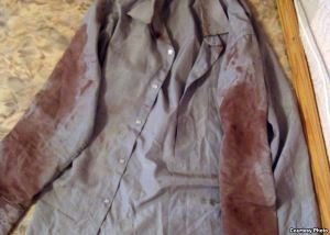 Bazarbai Kenzhebaev's jacket, after he returned from police detention