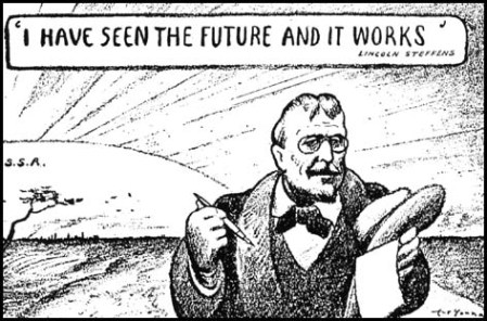 Lincoln Steffens. A cartoon by Art Young from New Masses journal (1932). Source: Spartacus Educational