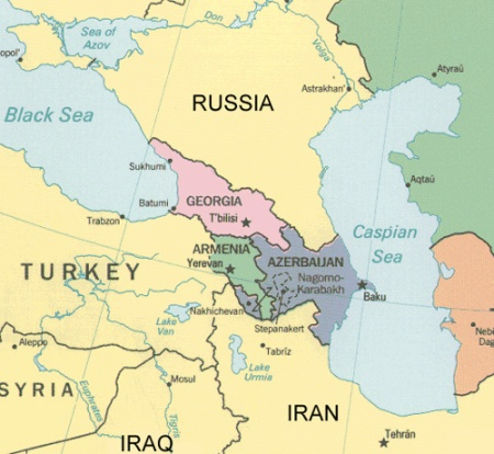The map of Caucasus