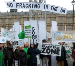 Anti-fracking protesters at parliament, 2012. Creative Commons licence.