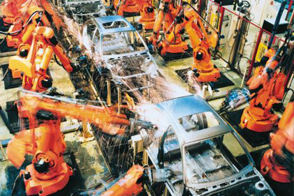 Robots at the Kia car assembly plant in Slovakia