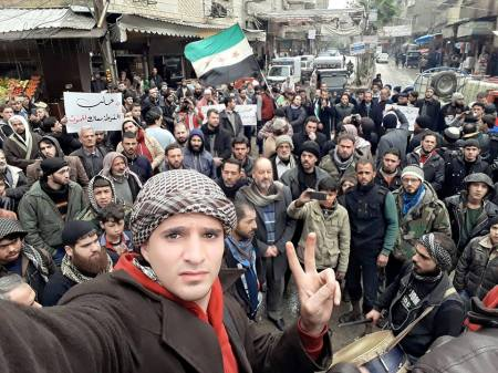 A demonstration in eastern Ghouta in solidarity with Aleppo. From Abo Alhuda Khaled