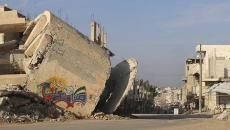 The word 'Steadfast' as graffiti on a damaged building in Deraa. Photo Wsam Almokdad/Reuters