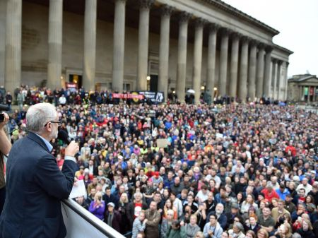 Jeremy Corbyn addressing a crowd outside St George's Hall, Liverpool, in 2016